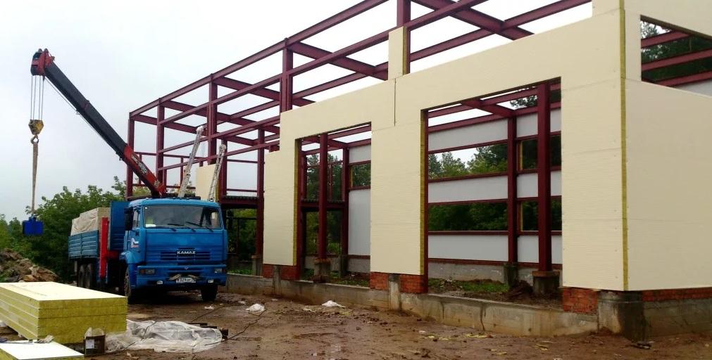 Строительство склада из сэндвич-панелей, Строительство склада из сэндвич-панелей, ПМстрой